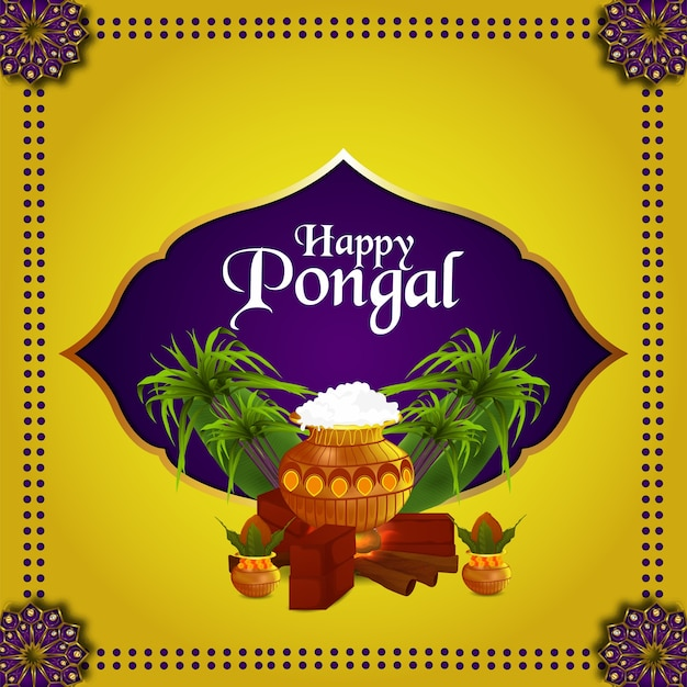Happy pongal greeting card on yellow background