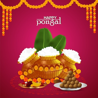 Happy pongal greetings celebration