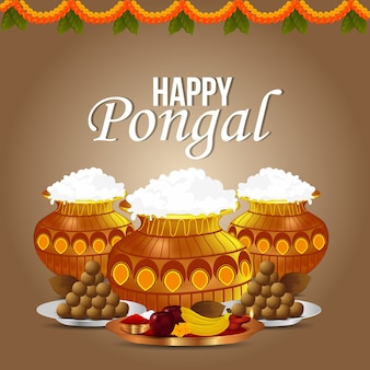Happy pongal, harvest festival of india celebration and mud pot with puja thali