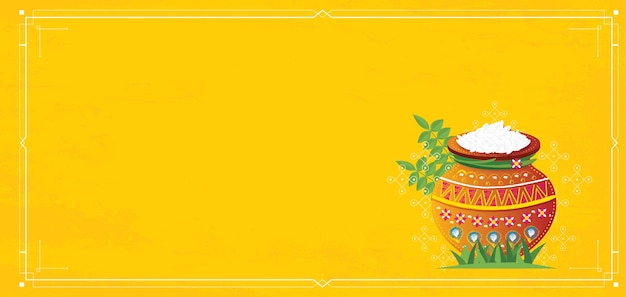 Happy pongal harvest festival of tamil nadu south india. illustration