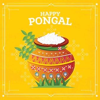 Happy pongal harvest festival of tamil nadu south india