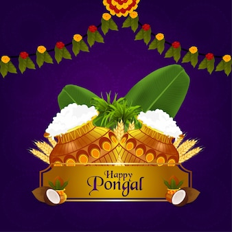 Happy pongal indian festival and background