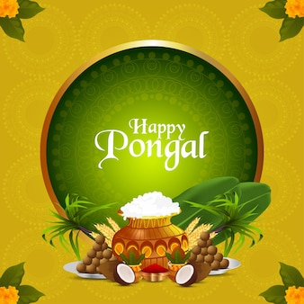 Happy pongal indian festival celebration