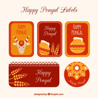 Happy pongal labels pack