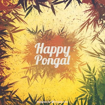 Happy pongal leaves background