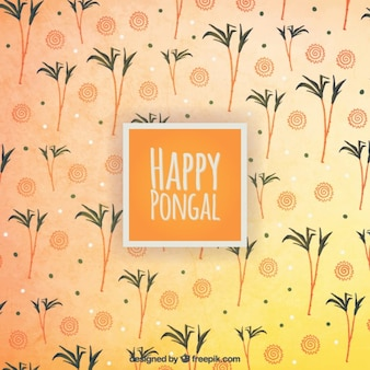 Happy pongal on a palm trees background