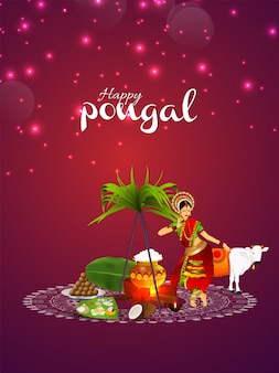 Happy pongal poster or background