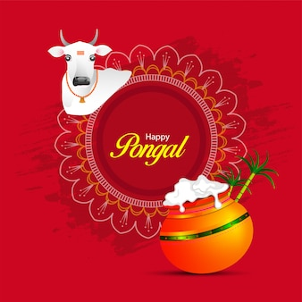 Happy pongal religious festival of south india.