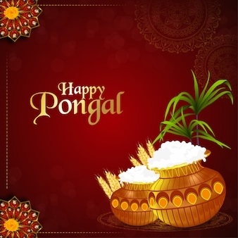 Happy pongal south indian festival background