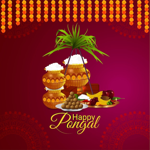 Happy pongal south indian festival celebration design