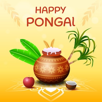 Happy pongal south indian harvesting festival greeting card illustration