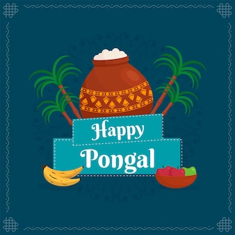 Счастливый текст pongal с традиционным блюдом в горшочке с грязью