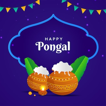 Happy pongal text with traditional dish in mud pots