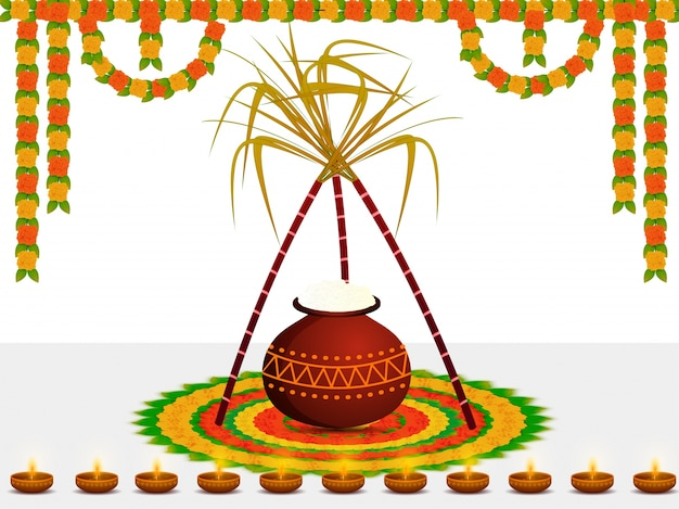 Happy pongal wishes or greeting background design.
