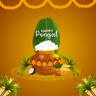 Happy pongal wishes greeting card and background