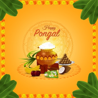 Happy pongal wishes greeting card and banner