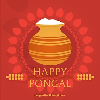 Happy pongal with red background