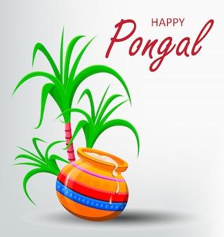 Открытка happy pongal на белом фоне