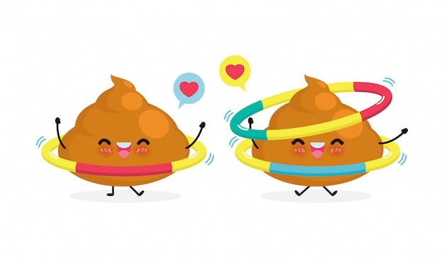 Happy poop couple doing exercises with hula hoop, healthy and fitness, cute cartoon funny cartoon character sport concept isolated on white background  illustration