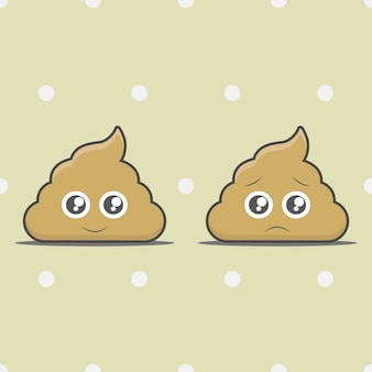 Happy poop and unhappy poop cartoon object
