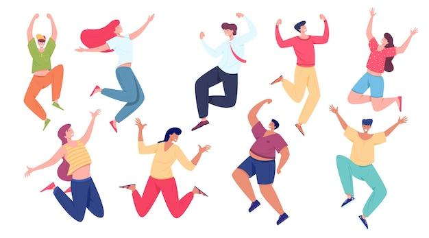上げられた手でジャンプする幸せな肯定的な人々。一緒に喜んでいる若い男性と女性のグループ。友情、成功、勝利のコンセプトを祝っています。フラットスタイルの図