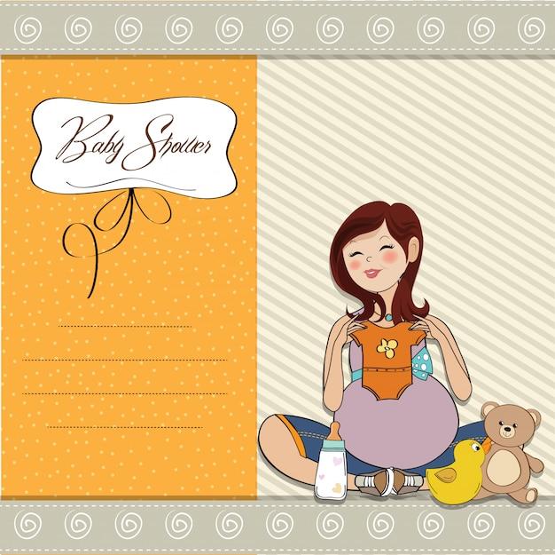 행복 한 임신 여자, 베이비 샤워 카드