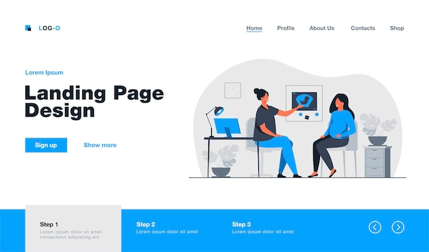 Happy pregnant woman consulting in gynecology office landing page in flat style