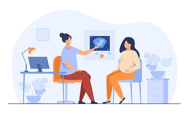 婦人科医院で相談する幸せな妊婦は、フラットベクトルイラストを分離しました。病院で医者と話している漫画の女性患者。医学と妊娠の概念