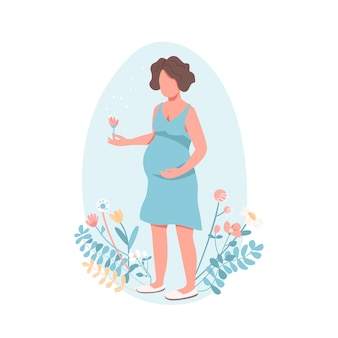 Happy pregnant woman in flat style
