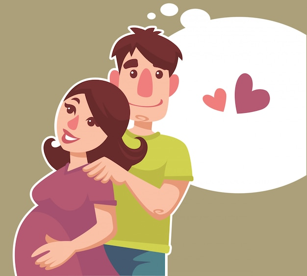 Happy pregnant woman her hasband and speech bubble