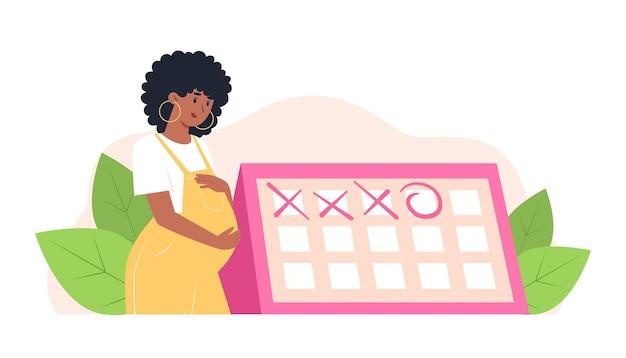 幸せな妊娠中の女性がカレンダーの近くに立って、産婦人科医との予定された約束