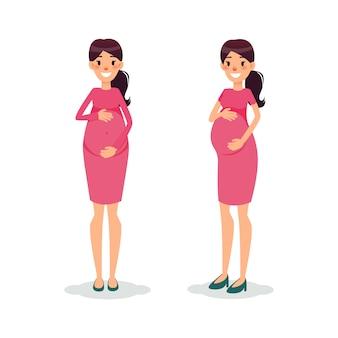 Happy pregnant women