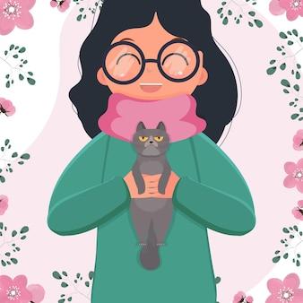 그녀의 팔에 고양이 들고 행복 유치원 아이 소녀. 고양이와 어린이 만화 캐릭터. 평면 고립 된 삽화.