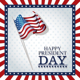 Happy president day stars frame flag