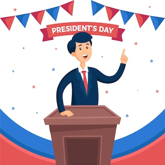 Happy president's day flat design