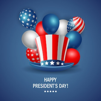 Happy president's day poster design with hat. vector illustration
