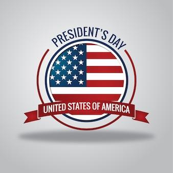 アメリカ合衆国の国旗とハッピー大統領の日プレミアムポスター