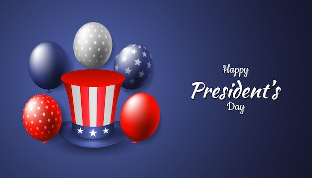 Happy president's day with realistic uncle sam hat and balloon