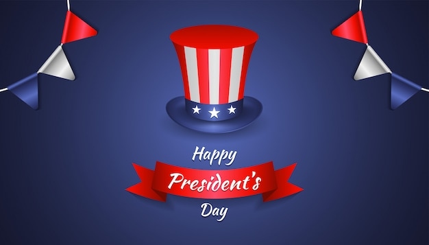 Happy president's day with realistic uncle sam hat, party flag and ribbon
