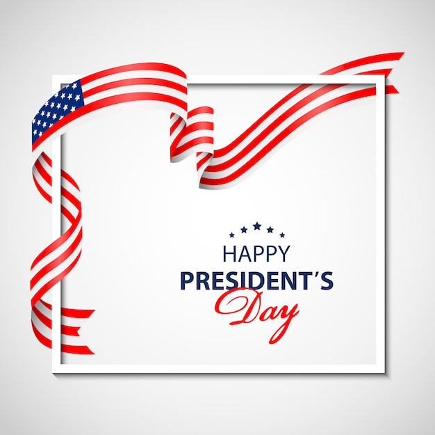 Happy presidents day background with white frame and flag usa.