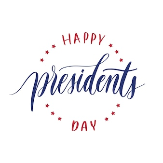 Happy presidents day  hand lettering vector.
