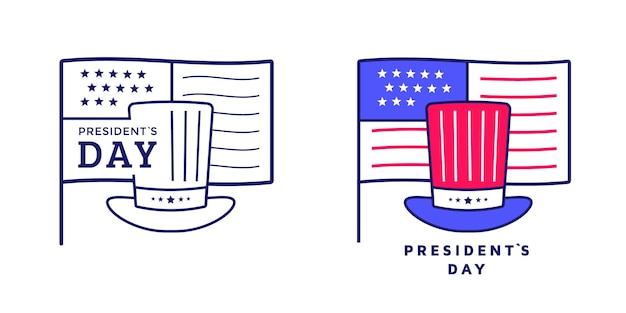 Happy presidents day icon or label design with hat and flag. american sign. illustration