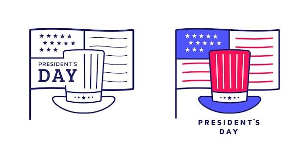 Счастливый день президентов значок или дизайн этикетки с шляпой и флагом. американский знак. иллюстрация
