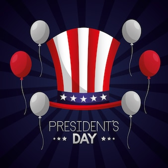 Happy presidents day illustration with uncle sam hat