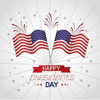 アメリカの国旗とハッピー大統領の日イラスト