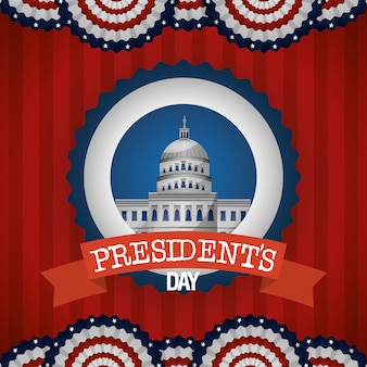Happy presidents day poster with white house