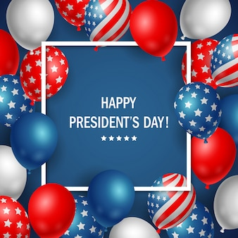 Happy presidents day usa with colorful balloon background.