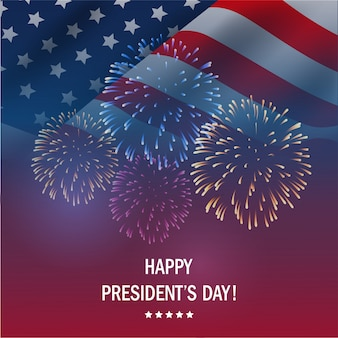 Happy presidents day usa with fireworks background.