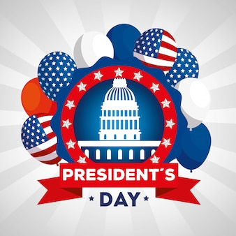 Happy presidents day with american parliament and decoration