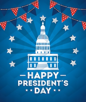 Happy presidents day with american parliament silhouette